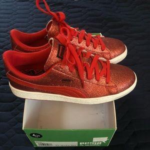 Puma Basket Red Glitter Sneakers